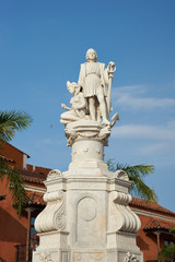 Statue of Christopher Columbus in the Cartagena