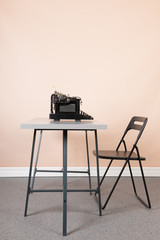 office with old black type writer