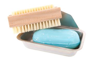 Soap bar with nail brush