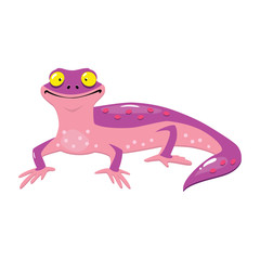 Funny cartoon lizard isolated on white