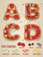 Vector Pizza alphabet letters.