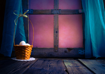 Basket Easter eggs table window