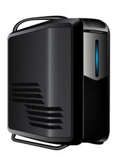 Gray server with blue led light