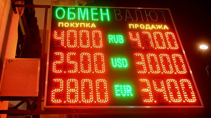 currency exchange rate on led display, red numbers diversity