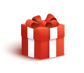 Red gift box with bow and ribbon