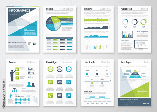 Green and blue modern infographic brochure vector elements - 79111404