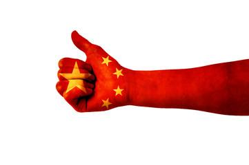 Main avec pouce levé, drapeau Chine