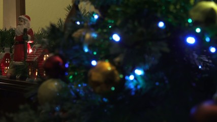 4k Close up of festive Christmas tree with decoration