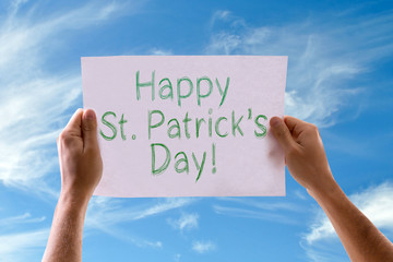Happy St Patricks Day card with sky background