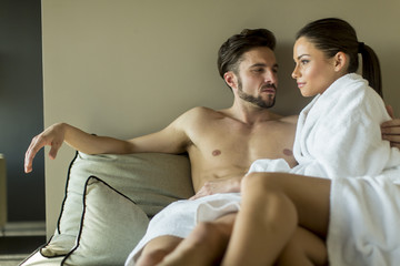 Young couple on the bed