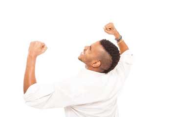 African man smiling and making fist gesture of happiness