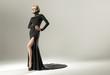 Stunning blond woman wearing black gown