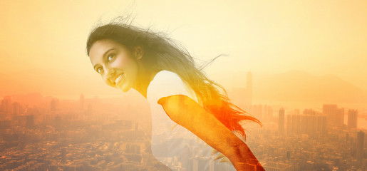 Woman and Cityscape in Double Exposure Effect