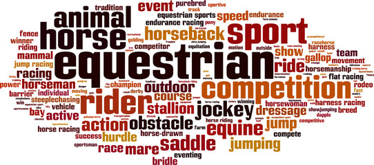 Equestrian word cloud concept. Vector illustration