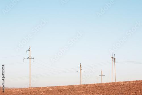 Leinwandbild Motiv Power line. Rural landscape