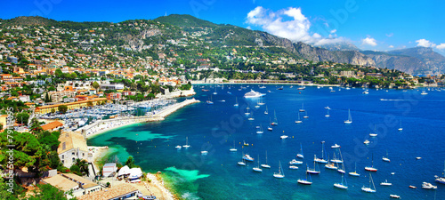 Poster Kust azure coast of France - panoramic view of Nice