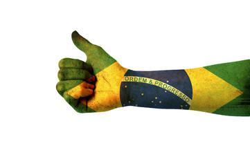 Main avec pouce levé, drapeau Brésil