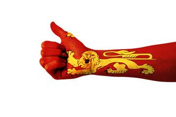 Main avec pouce levé, drapeau Normandie