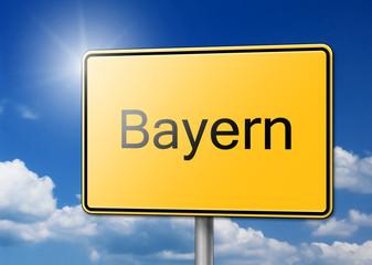 Herzlich Willkommen in Bayern Schild Hintergrund
