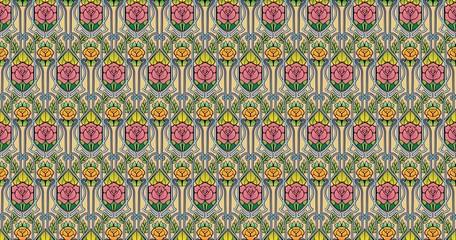 art nouveau rose wallpaper in pastels