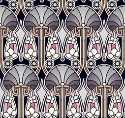 Pearl tones art nouveau wallpaper
