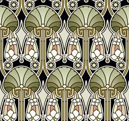 Green tones art nouveau wallpaper