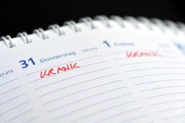 krank, Kalender, Arbeitsunfähigkeitsbescheinigung, Grippe