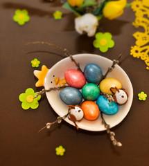 Easter table design - tilt shift photo