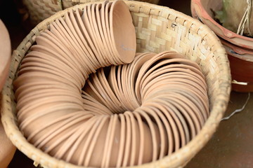 Spiral of small terracotta bowls. Panauti-Nepal. 1101