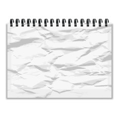 Crumpled piece of paper notebook with shadow vector illustration