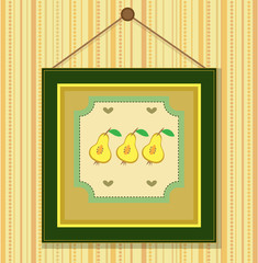 The hanging picture with yellow pears, retro style