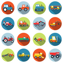 Special purpose cars and machinery vector icons