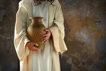 Jesus Holding Water Jar