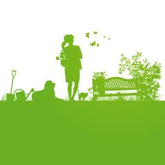 Frühling,Pflanzzeit,Giesskanne,Frau,Shilhouette