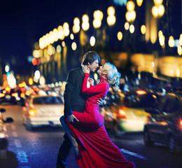 Romantic couple dancing in downtown