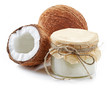 Постер, плакат: coconut oil and fresh coconuts