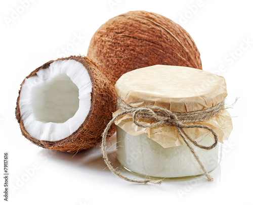 canvas print picture coconut oil and fresh coconuts
