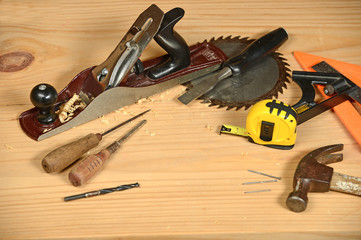 Carpenter's Tools on Wooden Bench