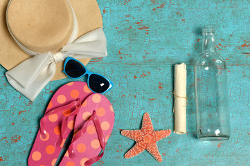 Vintage Table with Summer Objects