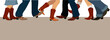 Banner with country dancers feet in cowboy boots - 79118470