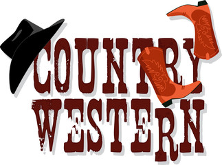 Country Western banner with Stetson hat and cowboy boots