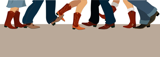 Banner with country dancers feet in cowboy boots