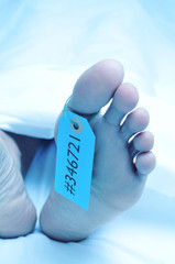 dead body with a toe tag