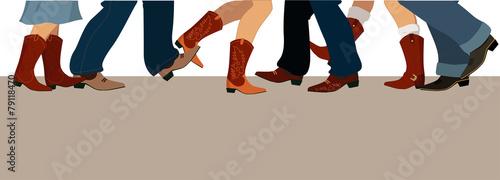 Zdjęcia na płótnie, fototapety, obrazy : Banner with country dancers feet in cowboy boots
