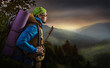 Adventure man hiking mountain - 79119055