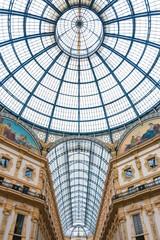 glass dome of Galleria Vittorio Emanuele II shopping gallery