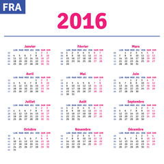 French calendar 2016, horizontal calendar grid, vector
