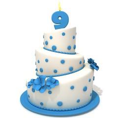 Birthday cake with number nine