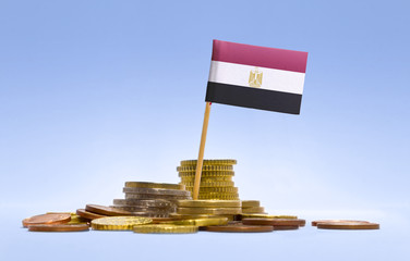 Flag of Egypt in a stack of coins.(series)