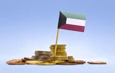 Flag of Kuwait in a stack of coins.(series)